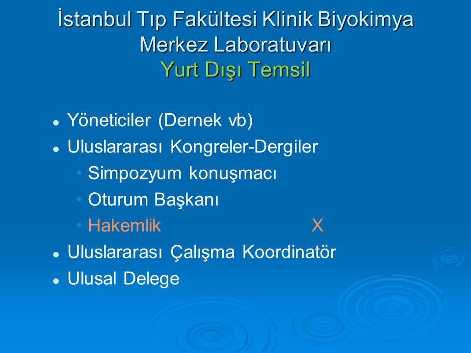 İstanbul Tıp Fakültesi Klinik Biyokimya Merkez Laboratuvarı Yurt İçi Temsil Yöneticiler (Dernek vb)Dernek İstanbul Şube Başkanlığı Ulusal Kongreler-Dergiler Sempozyum konuşmacıX Oturum BaşkanıX Hakemlik X Ulusal Çalışma Koordinatör X Ulusal Delege