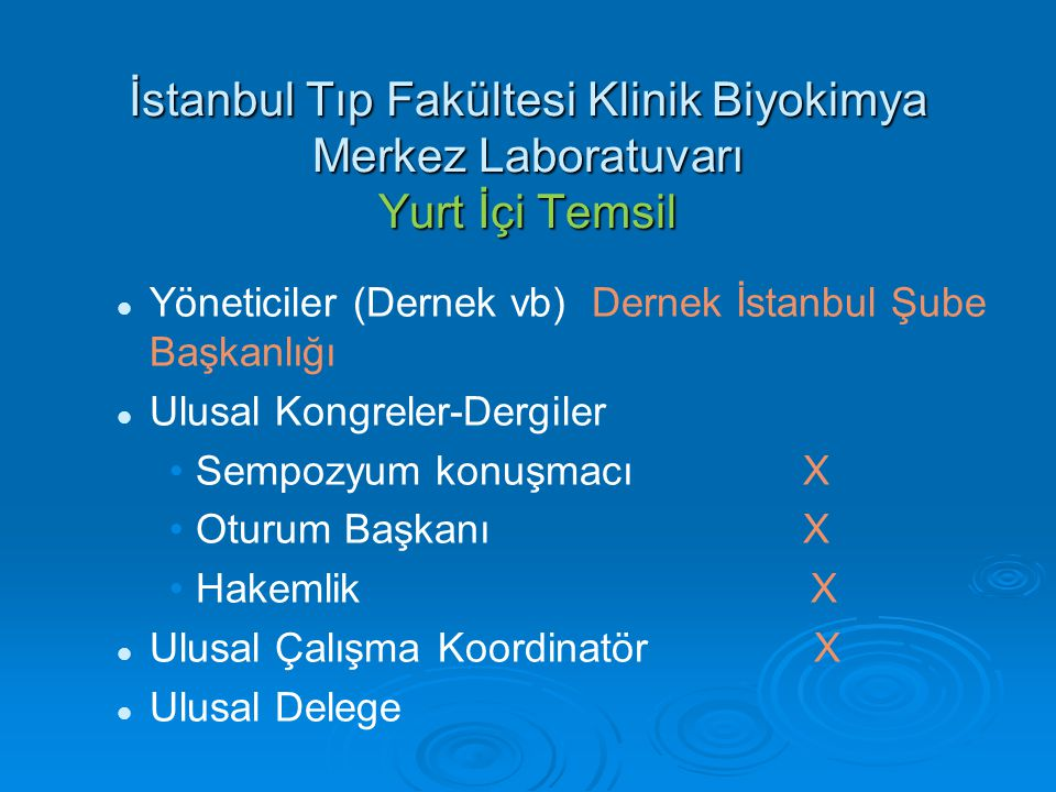 İstanbul Tıp Fakültesi Klinik Biyokimya Merkez Laboratuvarı Yurt İçi Temsil Yöneticiler (Dernek vb)Dernek İstanbul Şube Başkanlığı Ulusal Kongreler-De