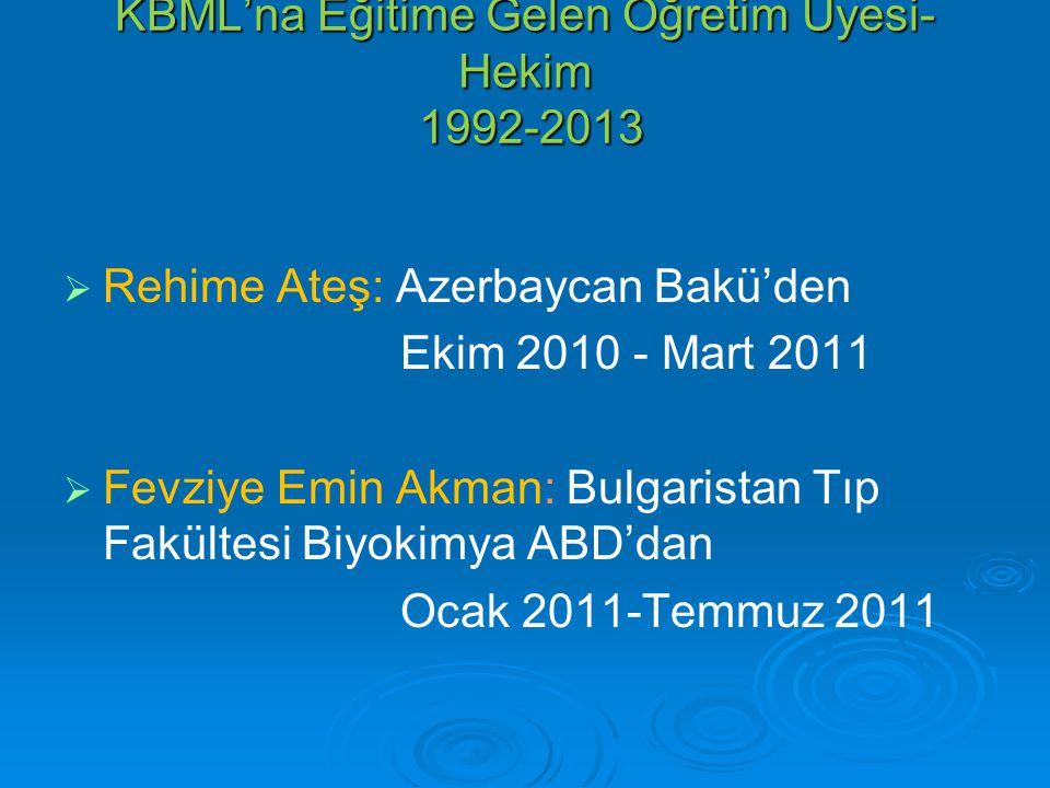 KBML'na Eğitime Gelen Öğretim Üyesi- Hekim 1992-2013   Rehime Ateş: Azerbaycan Bakü'den Ekim 2010 - Mart 2011   Fevziye Emin Akman: Bulgaristan Tı