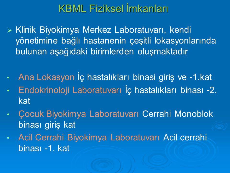 KBML Fiziksel İmkanları   Klinik Biyokimya Merkez Laboratuvarı, kendi yönetimine bağlı hastanenin çeşitli lokasyonlarında bulunan aşağıdaki birimler