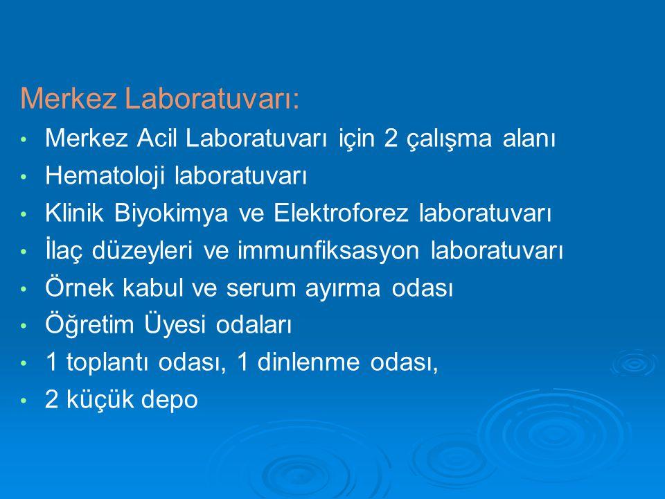 Merkez Laboratuvarı: Merkez Acil Laboratuvarı için 2 çalışma alanı Hematoloji laboratuvarı Klinik Biyokimya ve Elektroforez laboratuvarı İlaç düzeyler