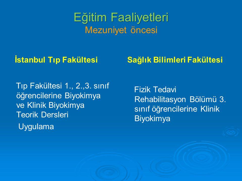 Eğitim Faaliyetleri Eğitim Faaliyetleri Mezuniyet öncesi İstanbul Tıp Fakültesi Tıp Fakültesi 1., 2.,3. sınıf öğrencilerine Biyokimya ve Klinik Biyoki