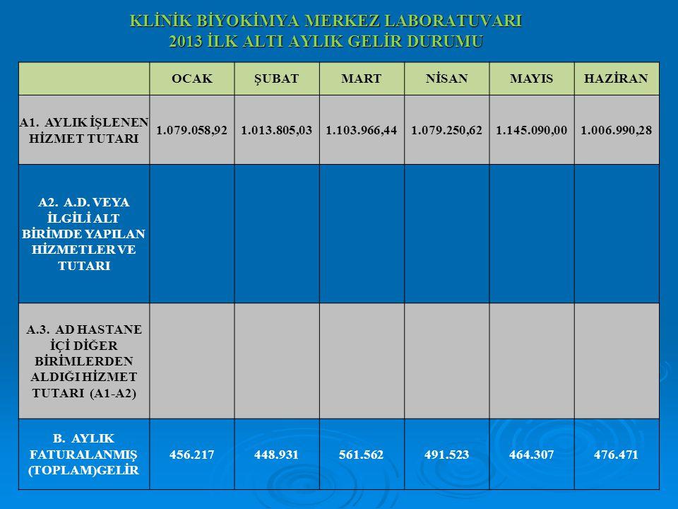 KLİNİK BİYOKİMYA MERKEZ LABORATUVARI 2013 İLK ALTI AYLIK GELİR DURUMU OCAKŞUBATMARTNİSANMAYISHAZİRAN A1. AYLIK İŞLENEN HİZMET TUTARI 1.079.058,921.013