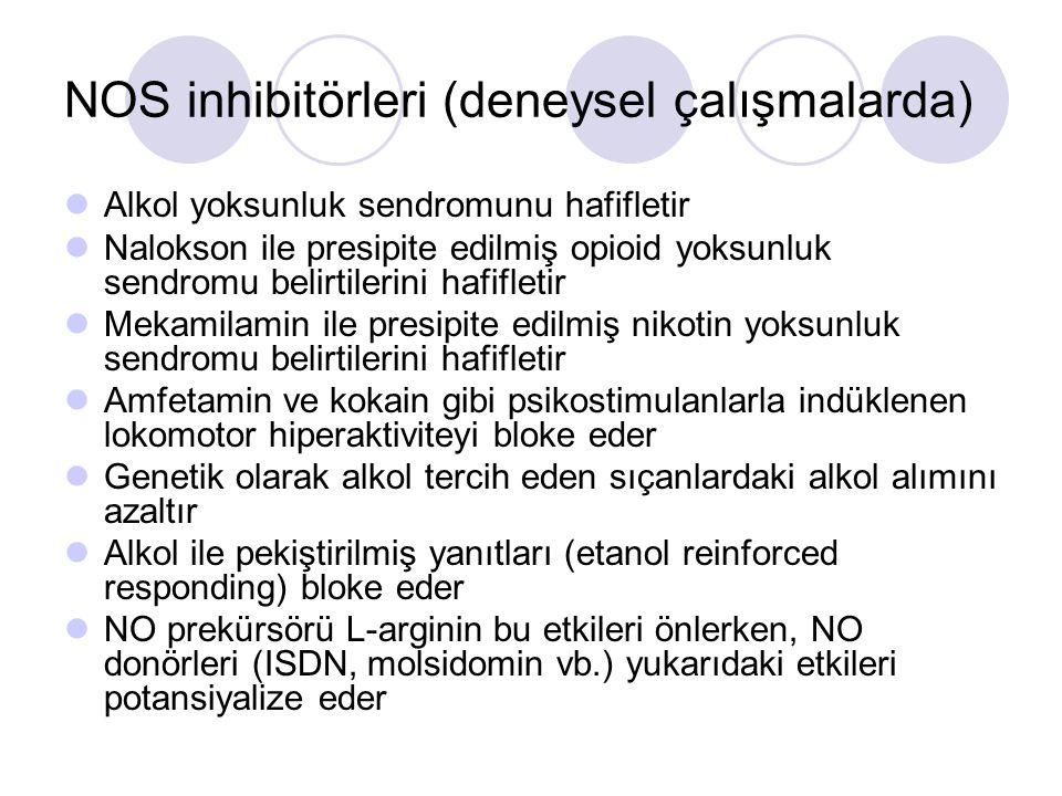 NOS inhibitörleri (deneysel çalışmalarda) Alkol yoksunluk sendromunu hafifletir Nalokson ile presipite edilmiş opioid yoksunluk sendromu belirtilerini