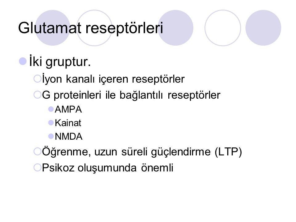 Glutamat reseptörleri İki gruptur.  İyon kanalı içeren reseptörler  G proteinleri ile bağlantılı reseptörler AMPA Kainat NMDA  Öğrenme, uzun süreli