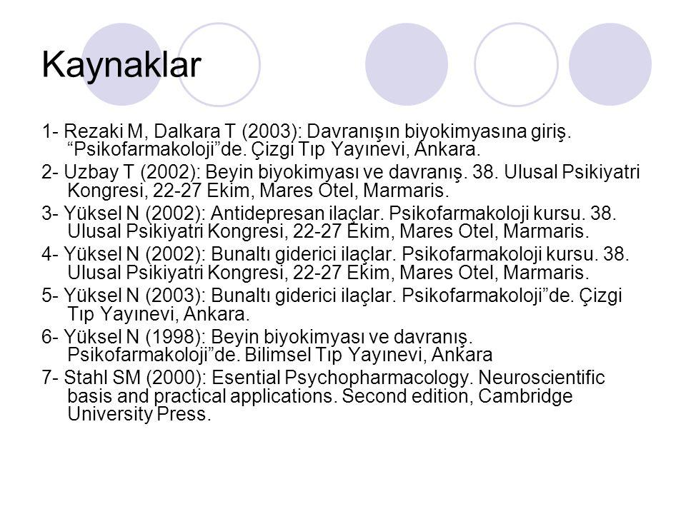 """Kaynaklar 1- Rezaki M, Dalkara T (2003): Davranışın biyokimyasına giriş. """"Psikofarmakoloji""""de. Çizgi Tıp Yayınevi, Ankara. 2- Uzbay T (2002): Beyin bi"""