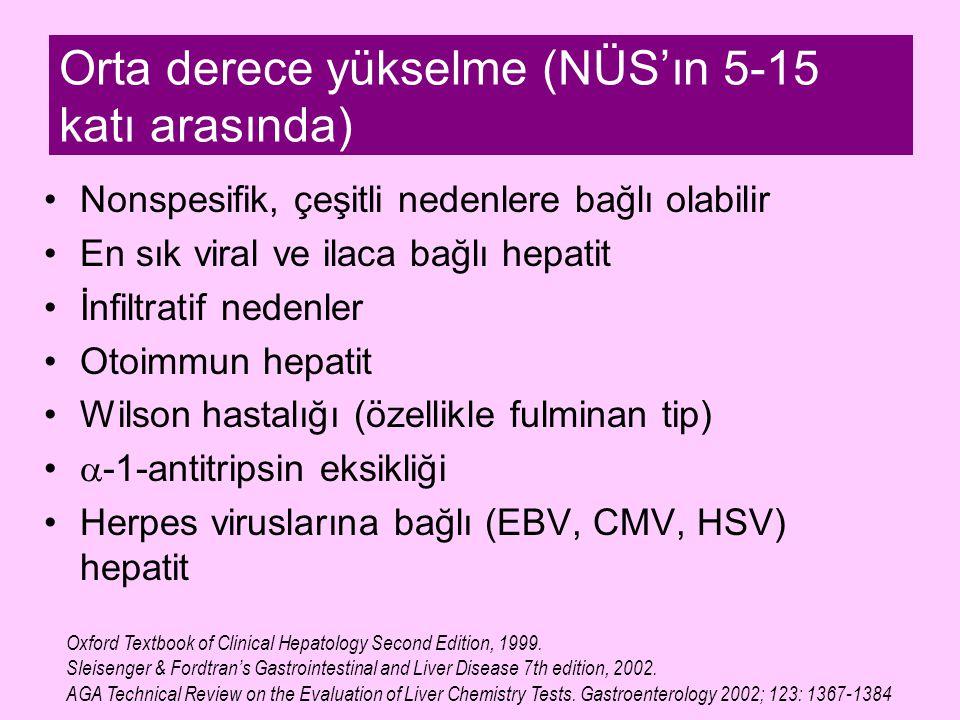 Orta derece yükselme (NÜS'ın 5-15 katı arasında) Nonspesifik, çeşitli nedenlere bağlı olabilir En sık viral ve ilaca bağlı hepatit İnfiltratif nedenle