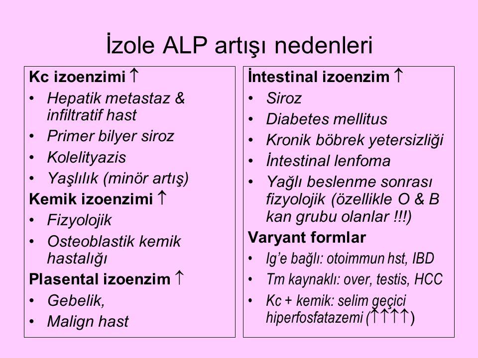 İzole ALP artışı nedenleri Kc izoenzimi  Hepatik metastaz & infiltratif hast Primer bilyer siroz Kolelityazis Yaşlılık (minör artış) Kemik izoenzimi
