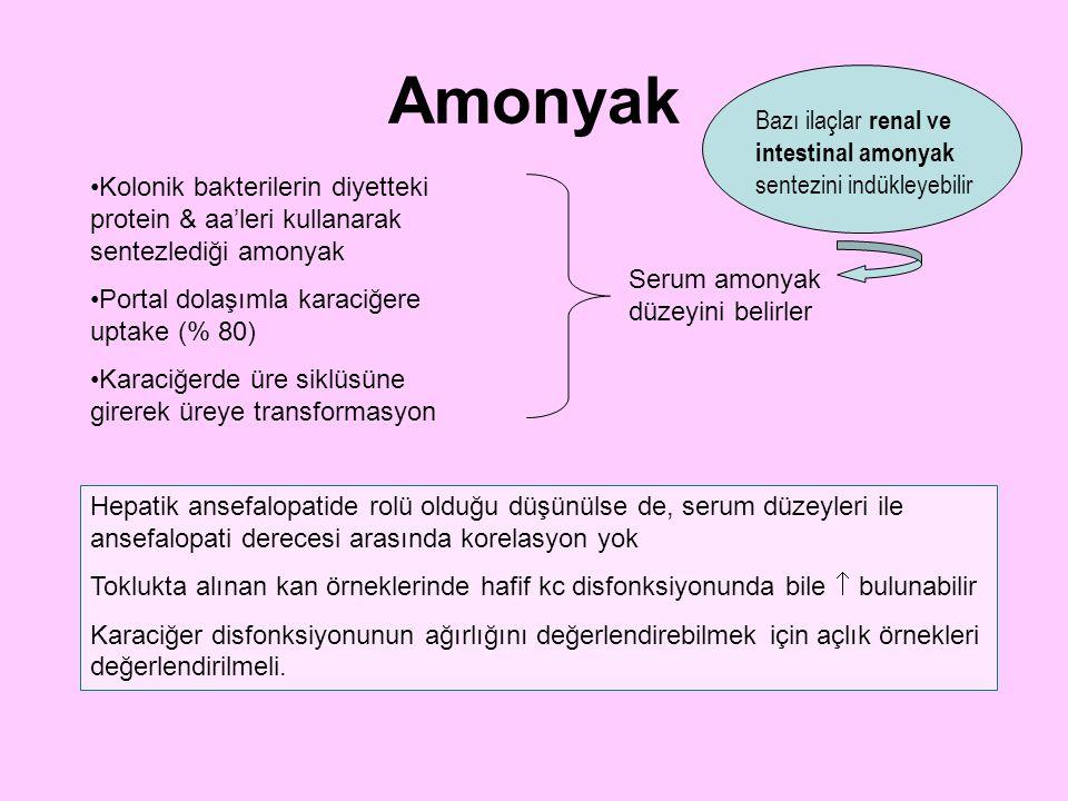 Amonyak Kolonik bakterilerin diyetteki protein & aa'leri kullanarak sentezlediği amonyak Portal dolaşımla karaciğere uptake (% 80) Karaciğerde üre sik