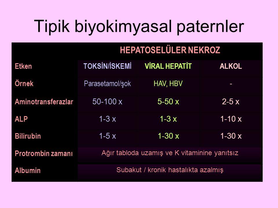 Tipik biyokimyasal paternler HEPATOSELÜLER NEKROZ EtkenTOKSİN/İSKEMİVİRAL HEPATİTALKOL Örnek Parasetamol/şokHAV, HBV- Aminotransferazlar 50-100 x5-50