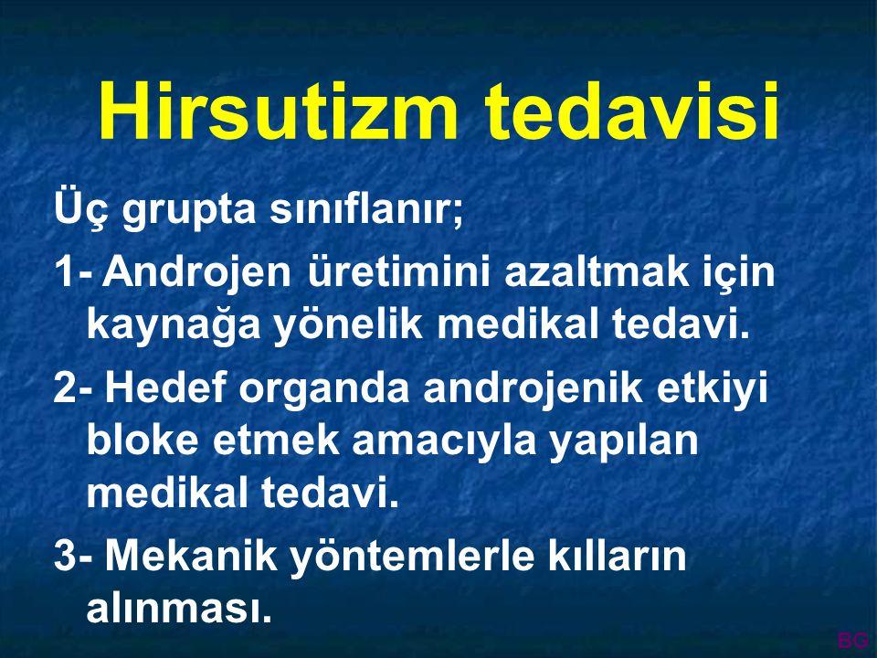 Hirsutizm tedavisi Üç grupta sınıflanır; 1- Androjen üretimini azaltmak için kaynağa yönelik medikal tedavi.