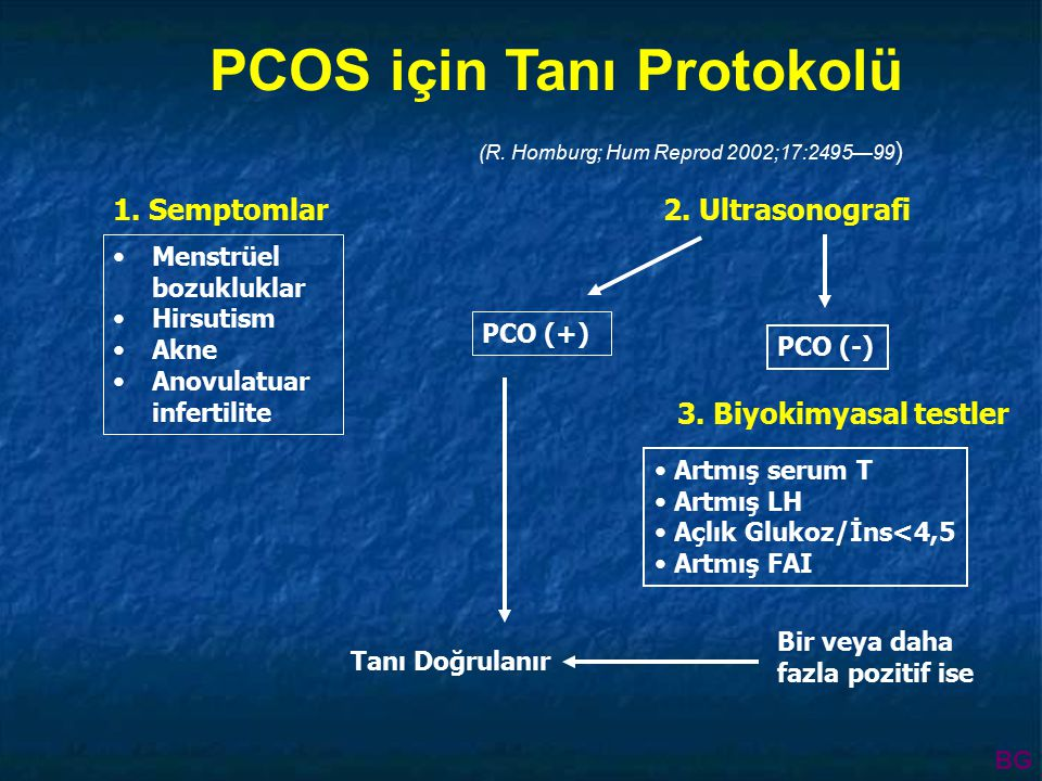 PCOS için Tanı Protokolü (R.Homburg; Hum Reprod 2002;17:2495—99 ) 2.