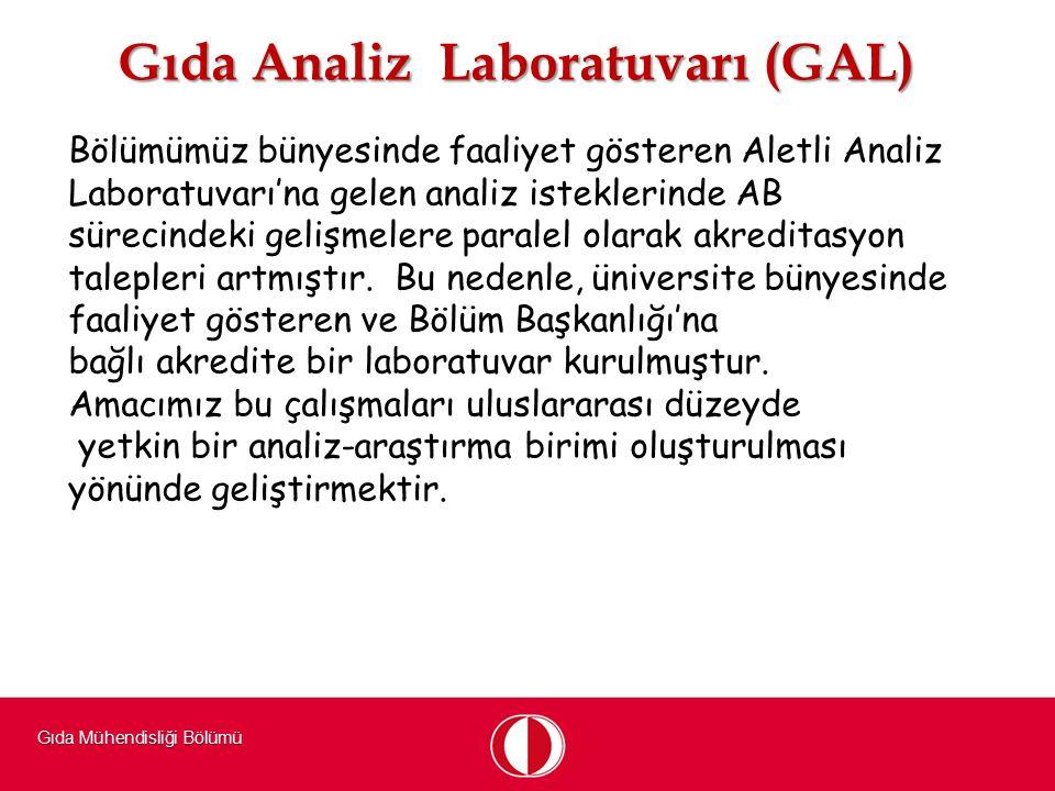 Gıda Mühendisliği Bölümü Gıda Analiz Laboratuvarı (GAL) Bölümümüz bünyesinde faaliyet gösteren Aletli Analiz Laboratuvarı'na gelen analiz isteklerinde