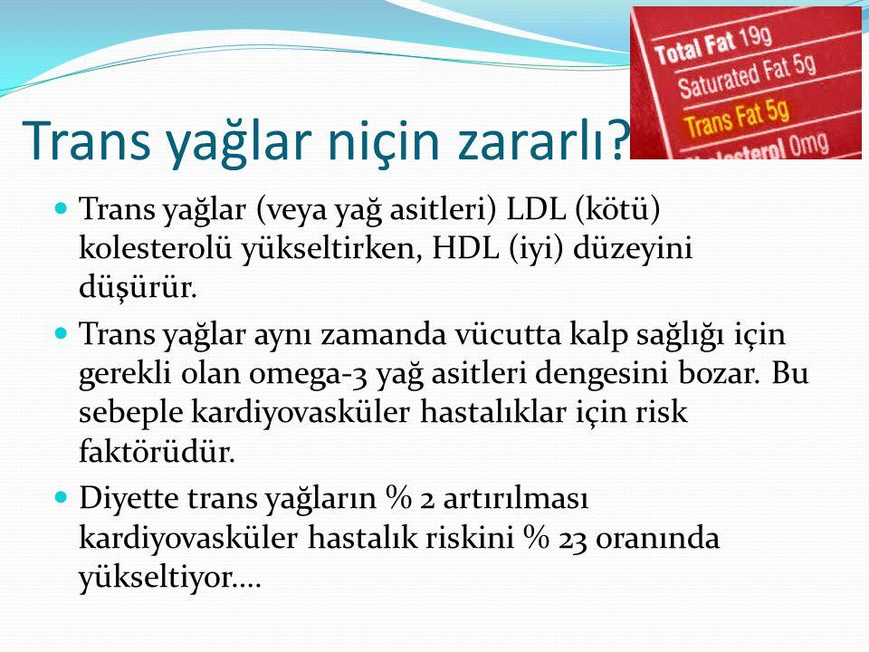 Trans yağlar (veya yağ asitleri) LDL (kötü) kolesterolü yükseltirken, HDL (iyi) düzeyini düşürür.