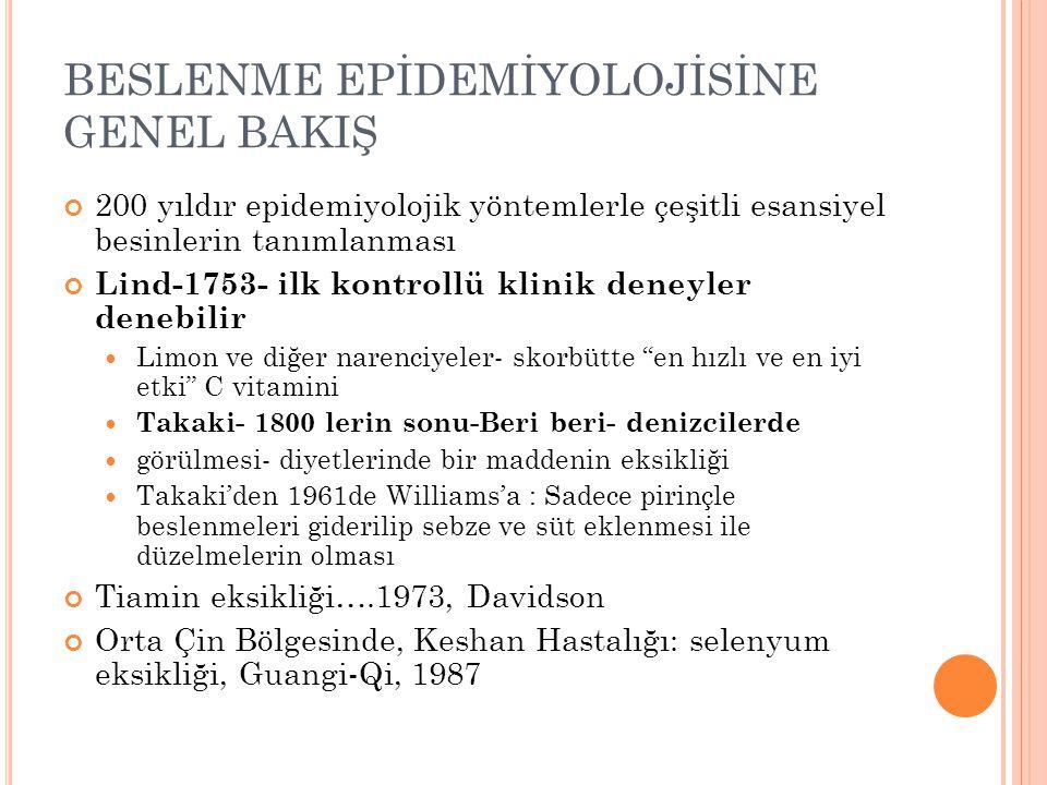 BESLENME EPİDEMİYOLOJİSİNE GENEL BAKIŞ 200 yıldır epidemiyolojik yöntemlerle çeşitli esansiyel besinlerin tanımlanması Lind-1753- ilk kontrollü klinik