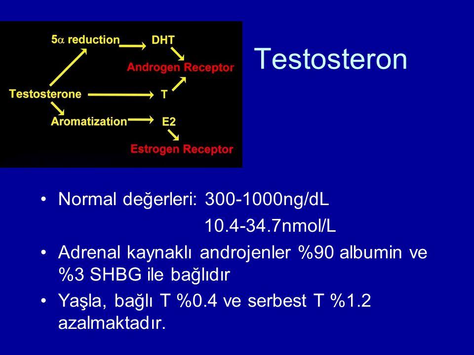 Testosteron Normal değerleri: 300-1000ng/dL 10.4-34.7nmol/L Adrenal kaynaklı androjenler %90 albumin ve %3 SHBG ile bağlıdır Yaşla, bağlı T %0.4 ve serbest T %1.2 azalmaktadır.