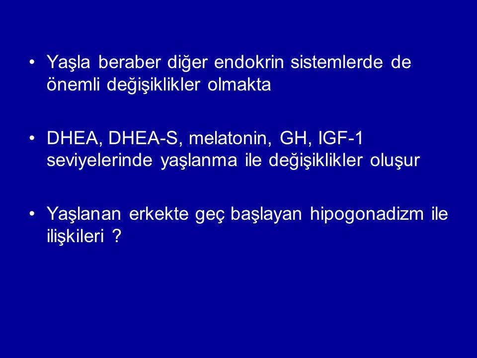 Yaşla beraber diğer endokrin sistemlerde de önemli değişiklikler olmakta DHEA, DHEA-S, melatonin, GH, IGF-1 seviyelerinde yaşlanma ile değişiklikler oluşur Yaşlanan erkekte geç başlayan hipogonadizm ile ilişkileri ?
