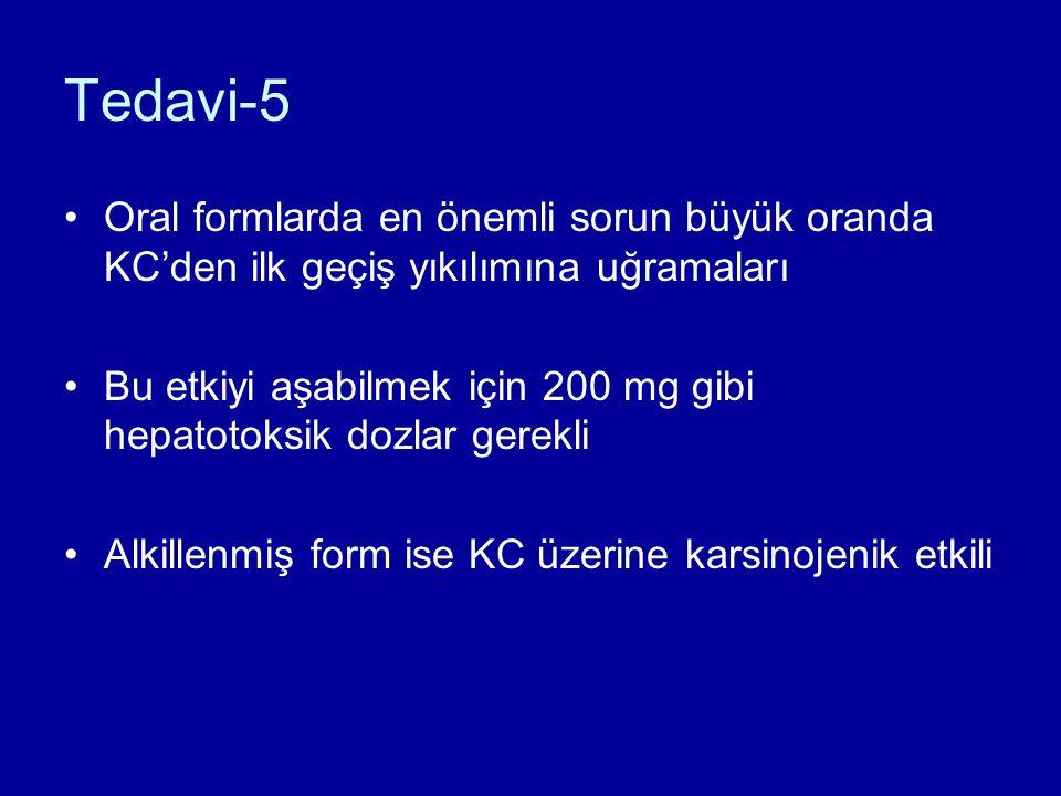 Tedavi-5 Oral formlarda en önemli sorun büyük oranda KC'den ilk geçiş yıkılımına uğramaları Bu etkiyi aşabilmek için 200 mg gibi hepatotoksik dozlar gerekli Alkillenmiş form ise KC üzerine karsinojenik etkili