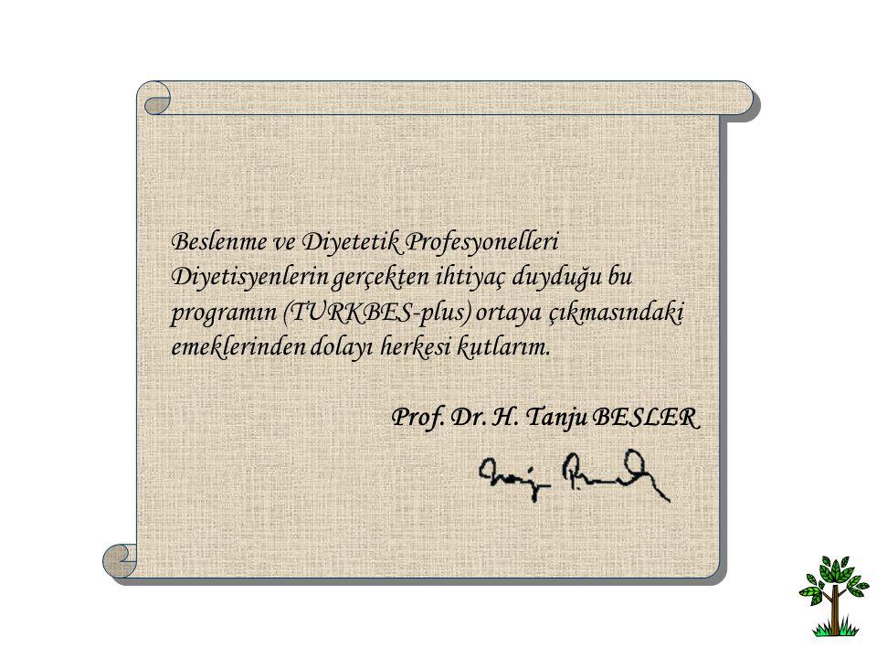 Beslenme ve Diyetetik Profesyonelleri Diyetisyenlerin gerçekten ihtiyaç duyduğu bu programın (TURKBES-plus) ortaya çıkmasındaki emeklerinden dolayı he