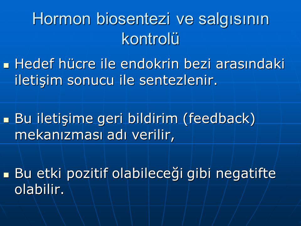 Hormon biosentezi ve salgısının kontrolü Hedef hücre ile endokrin bezi arasındaki iletişim sonucu ile sentezlenir.