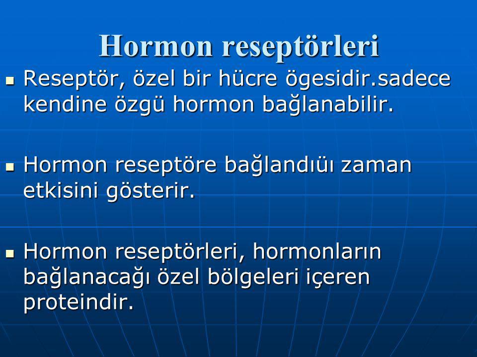 Hormon reseptörleri Reseptör, özel bir hücre ögesidir.sadece kendine özgü hormon bağlanabilir.