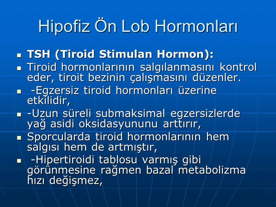 Hipofiz Ön Lob Hormonları Testosteron, FSH (folikul stimulan hormon), LH(Luteinizan hormon): - FSH, ovum ve sperm hücrelerinin olgunlaşması ve gonadlarda seks hormonlarının üretimini düzenlerler.