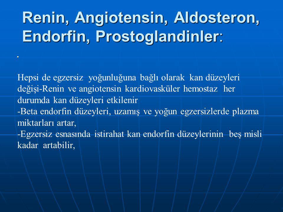 Renin, Angiotensin, Aldosteron, Endorfin, Prostoglandinler: Hepsi de egzersiz yoğunluğuna bağlı olarak kan düzeyleri değişi-Renin ve angiotensin kardiovasküler hemostaz her durumda kan düzeyleri etkilenir -Beta endorfin düzeyleri, uzamış ve yoğun egzersizlerde plazma miktarları artar, -Egzersiz esnasında istirahat kan endorfin düzeylerinin beş misli kadar artabilir,