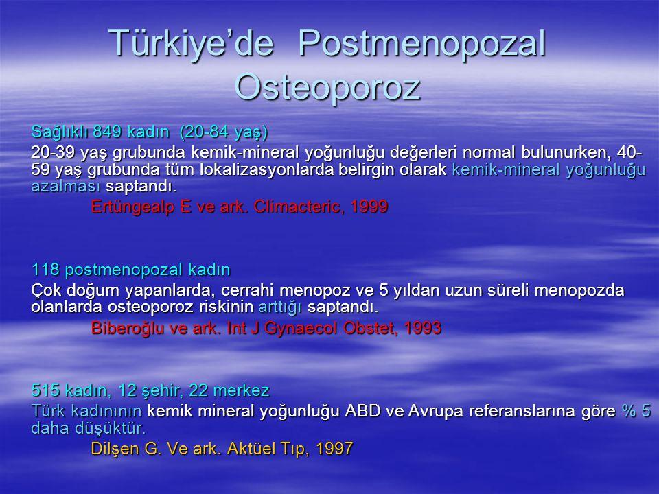 Türkiye'de Postmenopozal Osteoporoz Sağlıklı 849 kadın (20-84 yaş) 20-39 yaş grubunda kemik-mineral yoğunluğu değerleri normal bulunurken, 40- 59 yaş