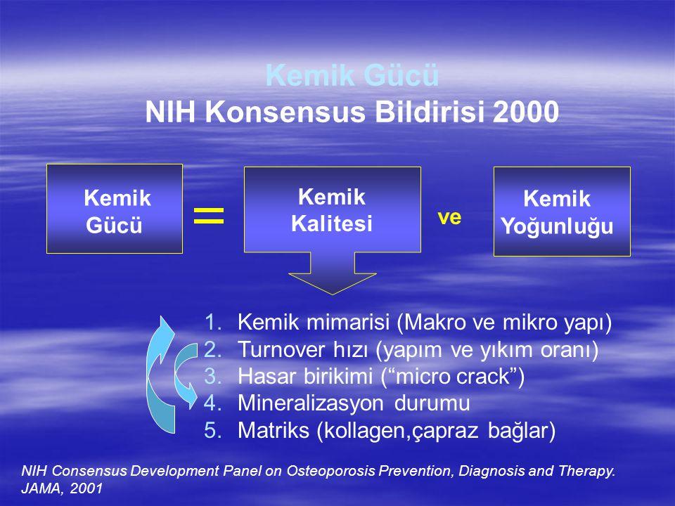 Kemik Gücü NIH Konsensus Bildirisi 2000 Kemik Kalitesi Kemik Gücü ve 1.Kemik mimarisi (Makro ve mikro yapı) 2.Turnover hızı (yapım ve yıkım oranı) 3.H