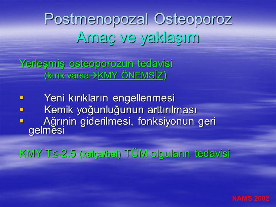 Postmenopozal Osteoporoz Amaç ve yaklaşım Yerleşmiş osteoporozun tedavisi (kırık varsa  KMY ÖNEMSİZ )  Yeni kırıkların engellenmesi  Kemik yoğunluğ