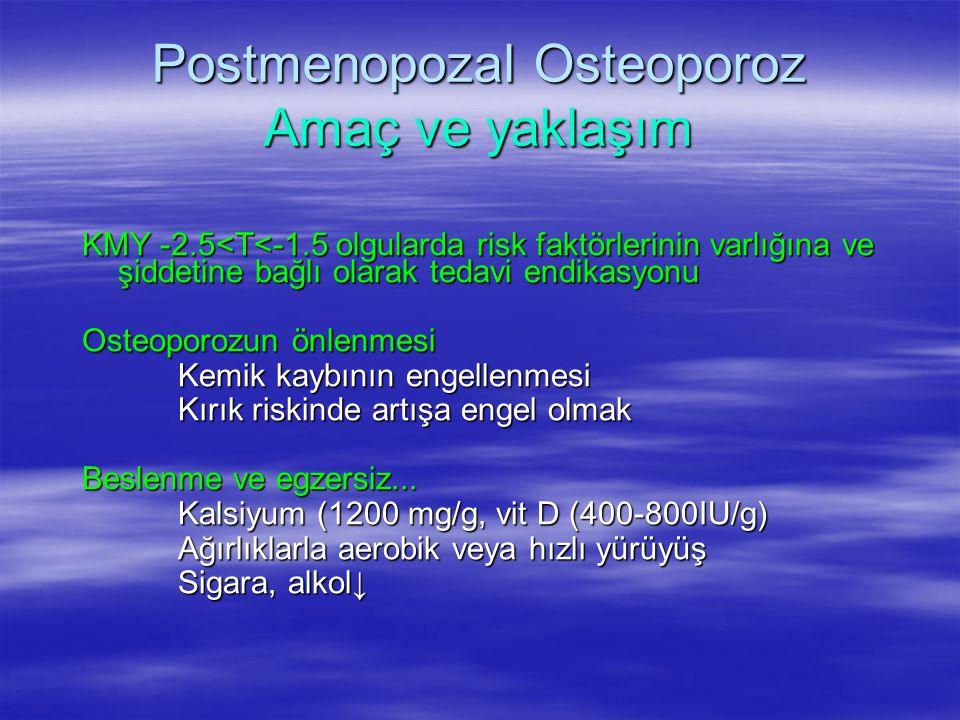 Postmenopozal Osteoporoz Amaç ve yaklaşım KMY -2.5<T<-1.5 olgularda risk faktörlerinin varlığına ve şiddetine bağlı olarak tedavi endikasyonu Osteopor
