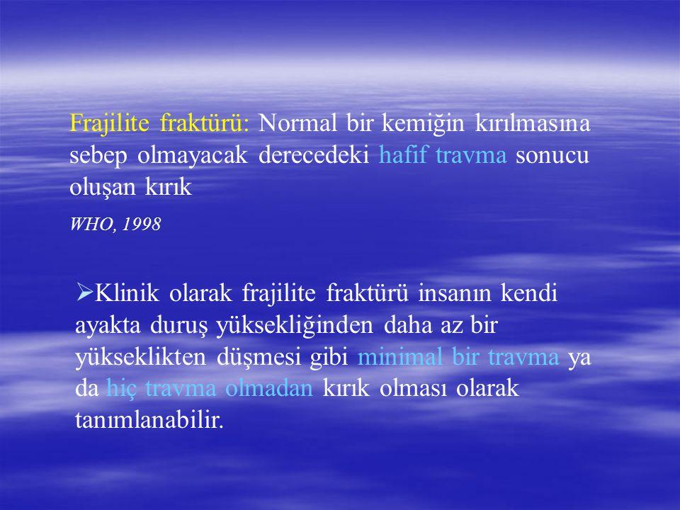 Frajilite fraktürü: Normal bir kemiğin kırılmasına sebep olmayacak derecedeki hafif travma sonucu oluşan kırık WHO, 1998  Klinik olarak frajilite fra