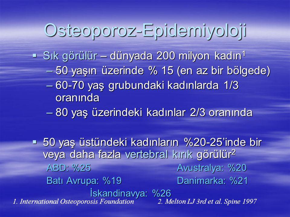 Türkiye'de Postmenopozal Osteoporoz Sağlıklı 849 kadın (20-84 yaş) 20-39 yaş grubunda kemik-mineral yoğunluğu değerleri normal bulunurken, 40- 59 yaş grubunda tüm lokalizasyonlarda belirgin olarak kemik-mineral yoğunluğu azalması saptandı.