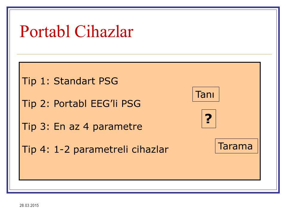28.03.2015 Portabl Cihazlar Tip 1: Standart PSG Tip 2: Portabl EEG'li PSG Tip 3: En az 4 parametre Tip 4: 1-2 parametreli cihazlar Tanı Tarama ?