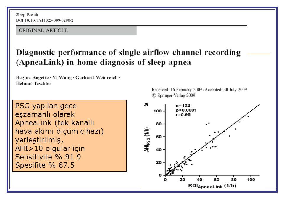 PSG yapılan gece eşzamanlı olarak ApneaLink (tek kanallı hava akımı ölçüm cihazı) yerleştirilmiş, AHİ>10 olgular için Sensitivite % 91.9 Spesifite % 87.5
