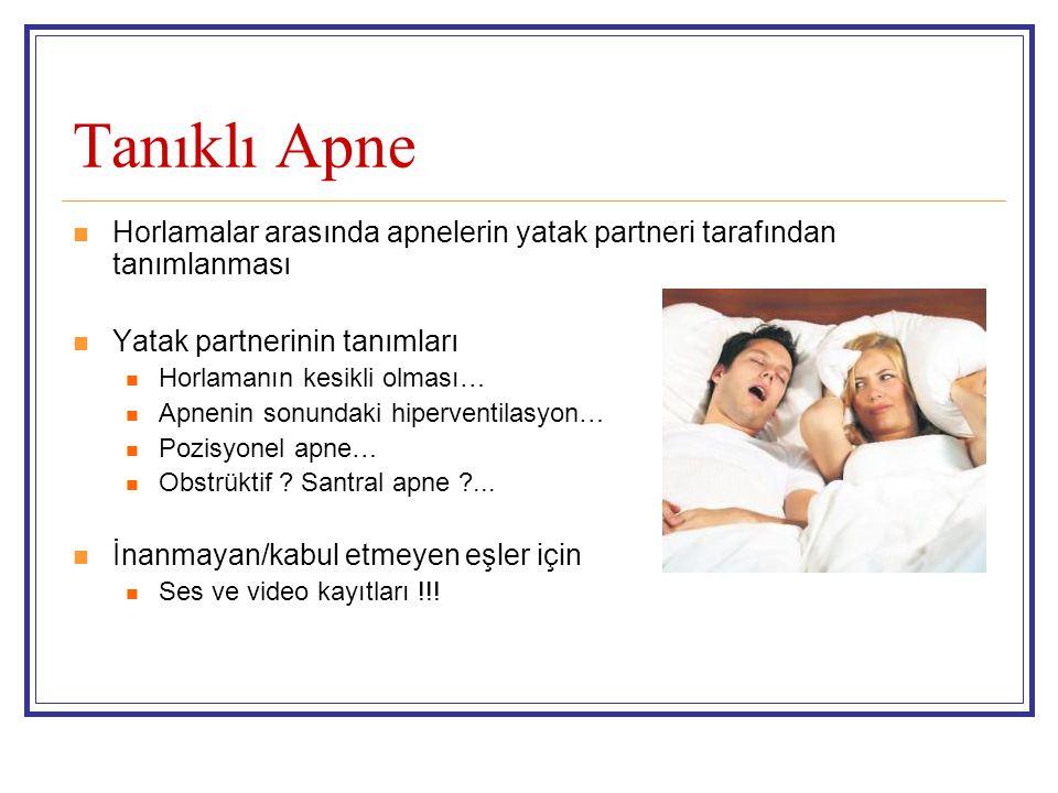 Tanıklı Apne Horlamalar arasında apnelerin yatak partneri tarafından tanımlanması Yatak partnerinin tanımları Horlamanın kesikli olması… Apnenin sonundaki hiperventilasyon… Pozisyonel apne… Obstrüktif .