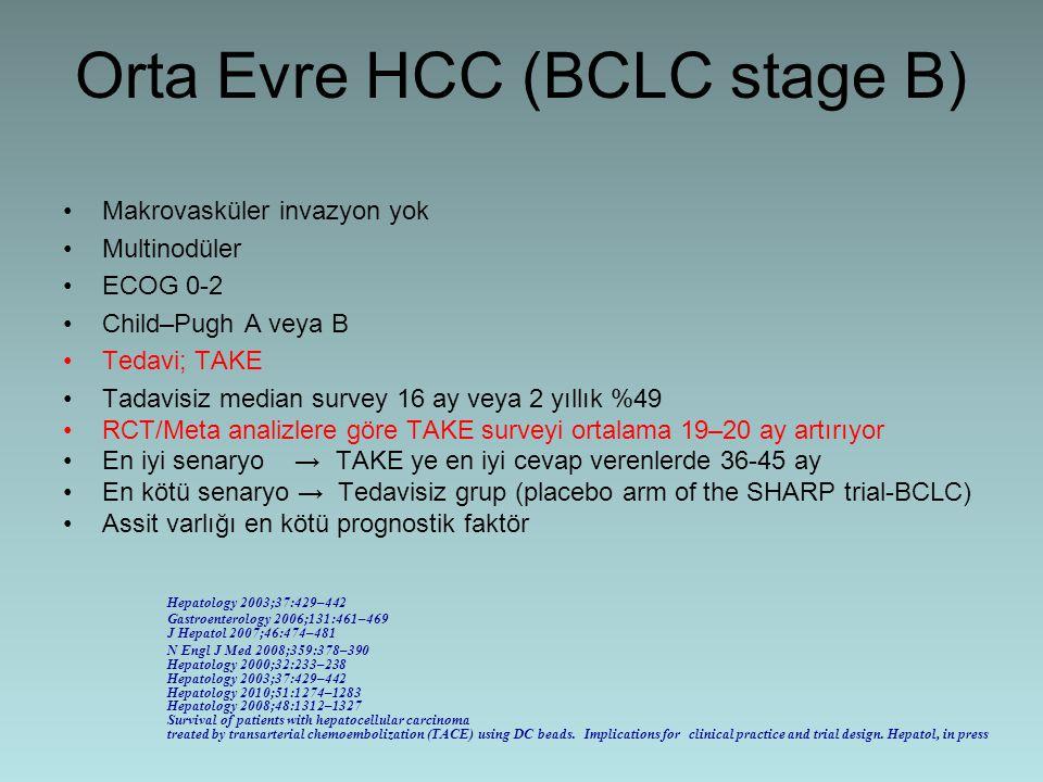 Orta Evre HCC (BCLC stage B) Makrovasküler invazyon yok Multinodüler ECOG 0-2 Child–Pugh A veya B Tedavi; TAKE Tadavisiz median survey 16 ay veya 2 yı