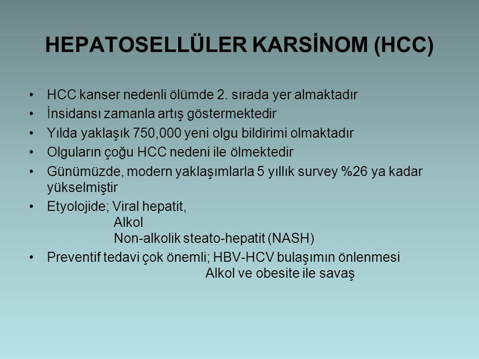 HEPATOSELLÜLER KARSİNOM (HCC) HCC kanser nedenli ölümde 2. sırada yer almaktadır İnsidansı zamanla artış göstermektedir Yılda yaklaşık 750,000 yeni ol