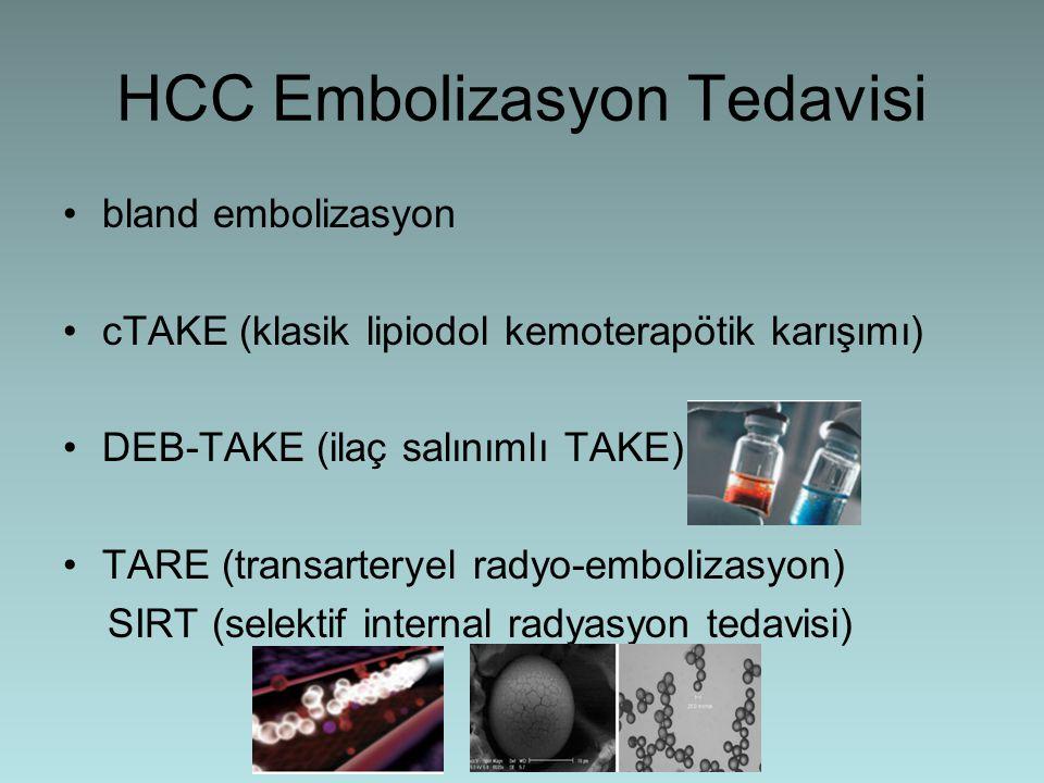 HCC Embolizasyon Tedavisi bland embolizasyon cTAKE (klasik lipiodol kemoterapötik karışımı) DEB-TAKE (ilaç salınımlı TAKE) TARE (transarteryel radyo-e
