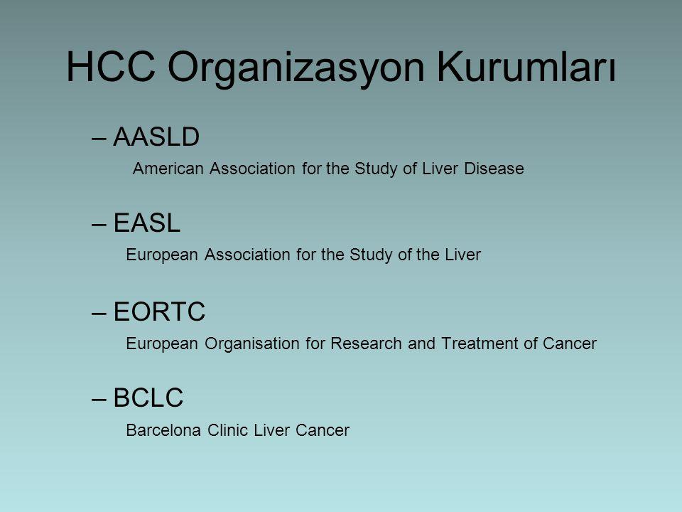 HCC Organizasyon Kurumları –AASLD American Association for the Study of Liver Disease –EASL European Association for the Study of the Liver –EORTC Eur