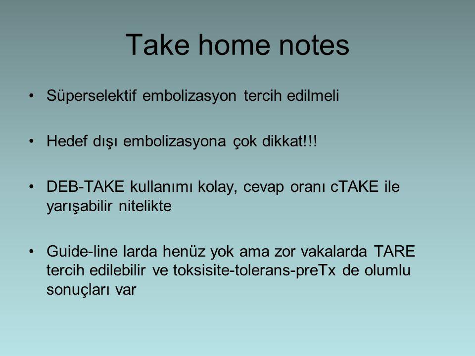 Take home notes Süperselektif embolizasyon tercih edilmeli Hedef dışı embolizasyona çok dikkat!!! DEB-TAKE kullanımı kolay, cevap oranı cTAKE ile yarı