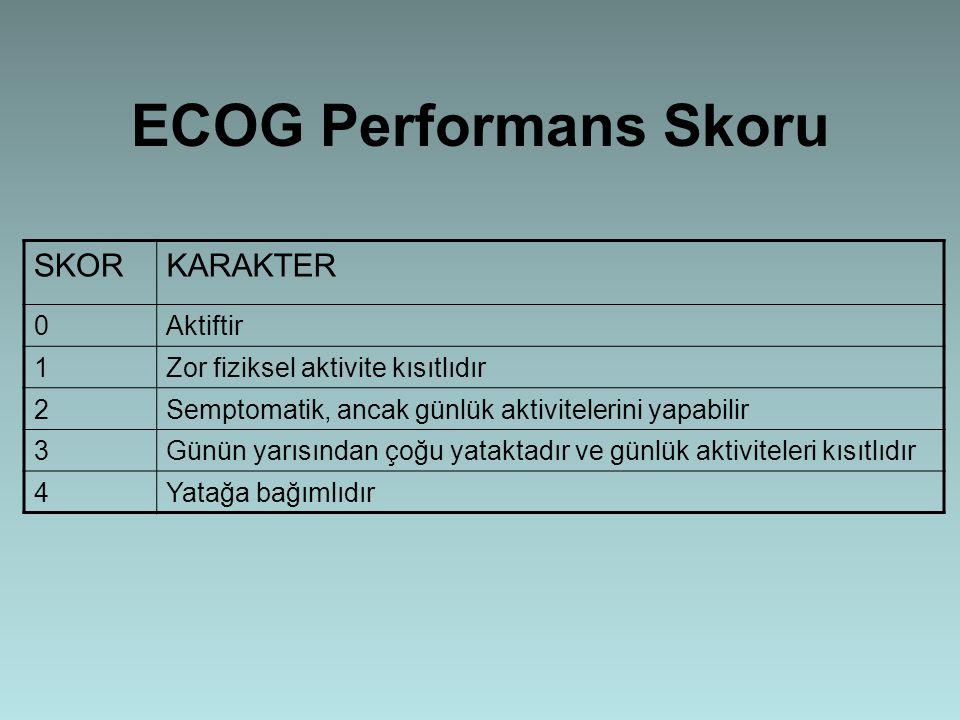 ECOG Performans Skoru SKORKARAKTER 0Aktiftir 1Zor fiziksel aktivite kısıtlıdır 2Semptomatik, ancak günlük aktivitelerini yapabilir 3Günün yarısından ç