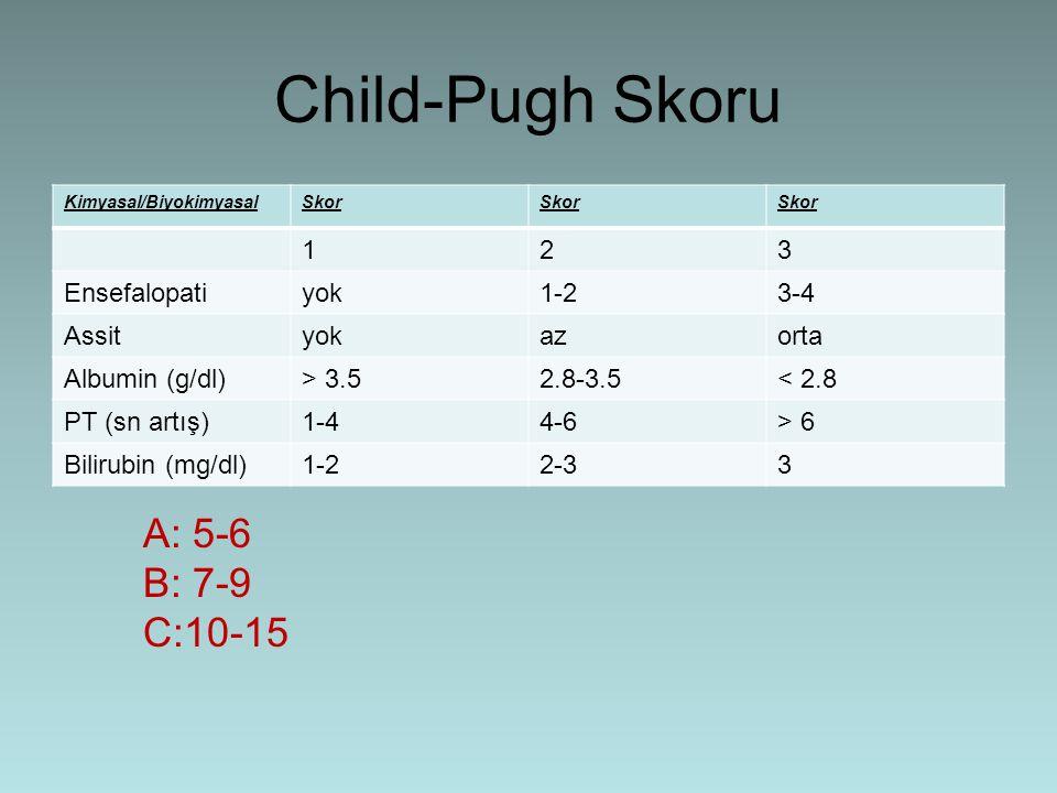 Child-Pugh Skoru Kimyasal/BiyokimyasalSkor 123 Ensefalopatiyok1-23-4 Assityokazorta Albumin (g/dl)> 3.52.8-3.5< 2.8 PT (sn artış)1-44-6> 6 Bilirubin (