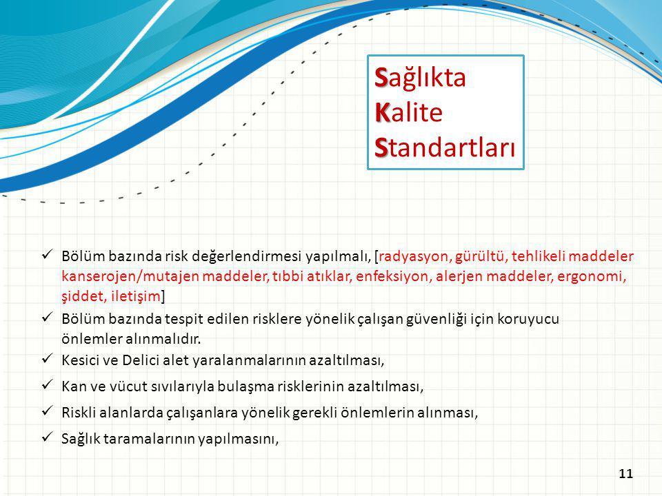 S Sağlıkta K Kalite S Standartları Kesici ve Delici alet yaralanmalarının azaltılması, Riskli alanlarda çalışanlara yönelik gerekli önlemlerin alınmas
