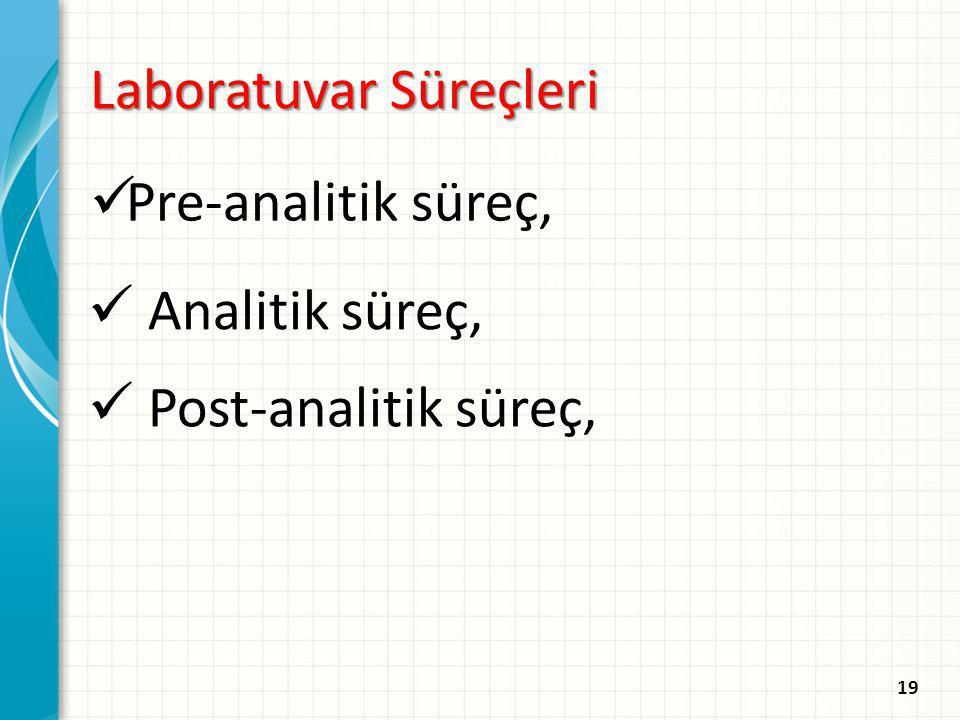 Laboratuvar Süreçleri Pre-analitik süreç, Analitik süreç, Post-analitik süreç, 19