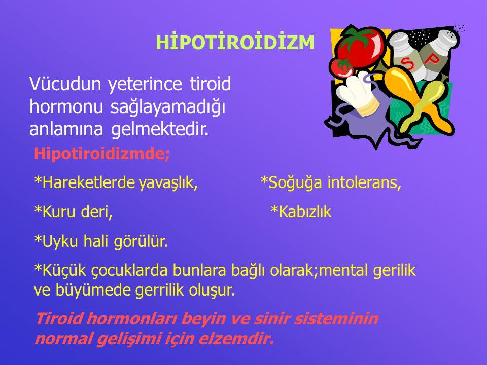 HİPOTİROİDİZM Vücudun yeterince tiroid hormonu sağlayamadığı anlamına gelmektedir. Hipotiroidizmde; *Hareketlerde yavaşlık, *Soğuğa intolerans, *Kuru