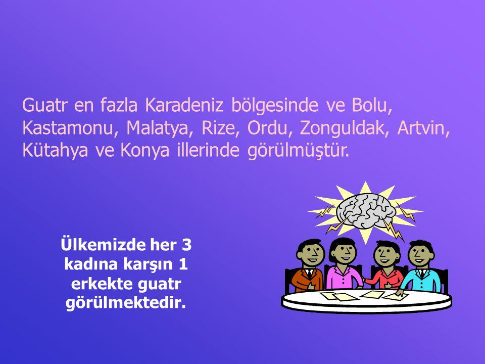 Guatr en fazla Karadeniz bölgesinde ve Bolu, Kastamonu, Malatya, Rize, Ordu, Zonguldak, Artvin, Kütahya ve Konya illerinde görülmüştür. Ülkemizde her