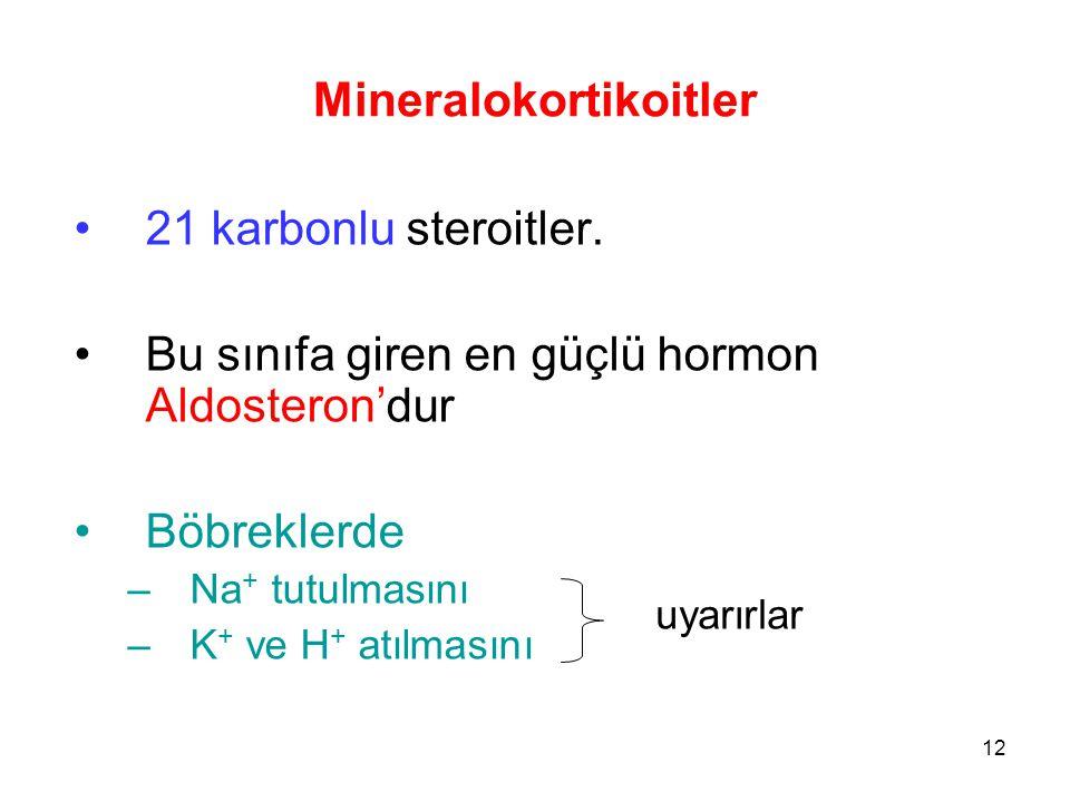 Mineralokortikoitler 21 karbonlu steroitler. Bu sınıfa giren en güçlü hormon Aldosteron'dur Böbreklerde –Na + tutulmasını –K + ve H + atılmasını uyarı