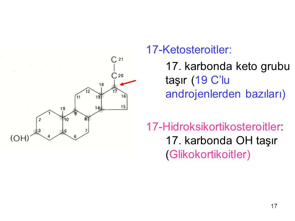 17-Ketosteroitler: 17. karbonda keto grubu taşır (19 C'lu androjenlerden bazıları) 17-Hidroksikortikosteroitler: 17. karbonda OH taşır (Glikokortikoit