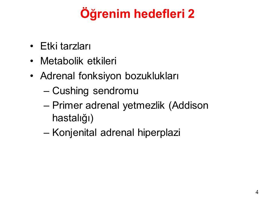 Öğrenim hedefleri 2 Etki tarzları Metabolik etkileri Adrenal fonksiyon bozuklukları –Cushing sendromu –Primer adrenal yetmezlik (Addison hastalığı) –K
